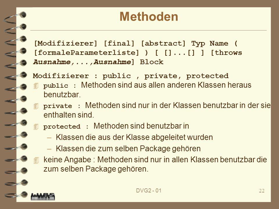 Methoden[Modifizierer] [final] [abstract] Typ Name ( [formaleParameterliste] ) [ []...[] ] [throws Ausnahme,...,Ausnahme] Block.
